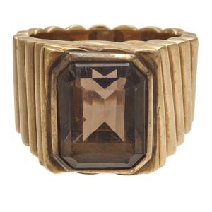 Gent's Smoky Quartz, 14k Rose Gold Ring
