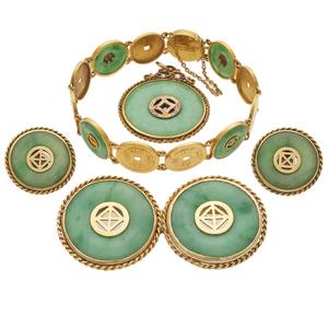 Jadeite, 18k, 14k Yellow Gold Jewelry Suite