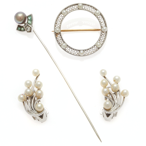 Collection of Cultured Pearl, Diamond, Platinum, 14k Jewelry