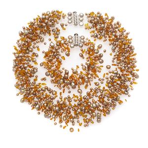 Iridesse Fresh Water Pearl, Amber Jewelry Suite