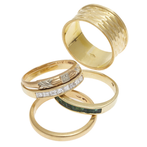 Collection of Diamond, Emerald, 18k, 14k Stacking Rings
