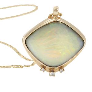 Opal, Diamond, 14k Yellow Gold Necklace