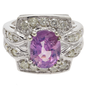 Pink Sapphire, Diamond, 14k White Gold Ring