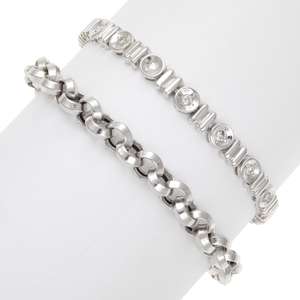 Collection of Two 14k White Gold Bracelets