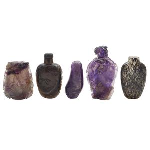 Five Quartz Crystal Snuff Bottles