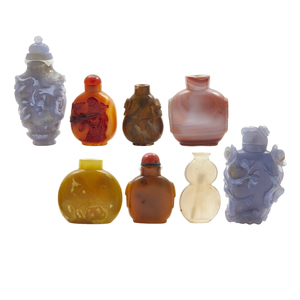 Eight Agate Snuff Bottles