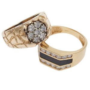 Collection of Two Diamond, 14k Yellow Gold Rings