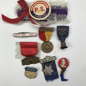 Older 45 Novelty & Oddity Ribbons, Buttons, Pins Group