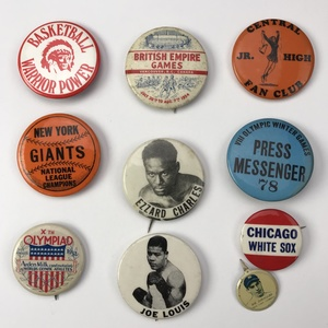 Group of 40 Vintage Sports Buttons Pinbacks
