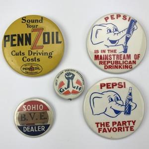Group of 52 Vintage 1940s-60s Advertising Pinbacks