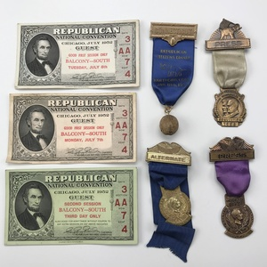 Group of 14 1950-1956 Republican Convention Delegates , Press Ribbons , and Tickets