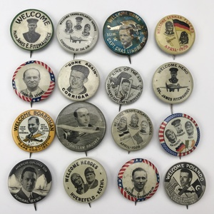 Group of 55 Early Aviation and Aviator Buttons Pinbacks