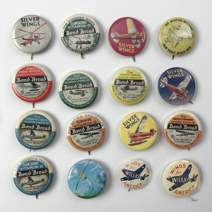 Group of 84 1930s Aviation Airplane Buttons & Pins