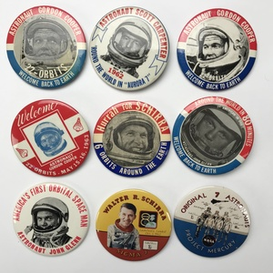 Group of 46 NASA Original 7 Astronauts Mercury Gemini Buttons