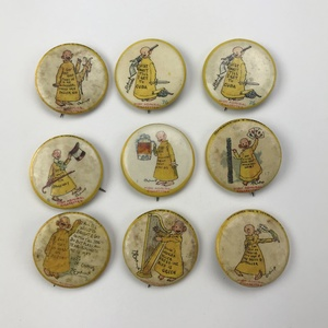 24 Antique Hassan Yellow Kid Admiral Cigarette Buttons