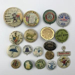 Group 32 Unique Antique Advertisement Buttons Pinbacks