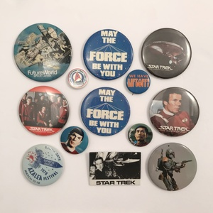Group of 60 Star Trek and Star Wars Buttons and Pins