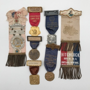Group of 6 Antique Fire Department Ribbons Medals
