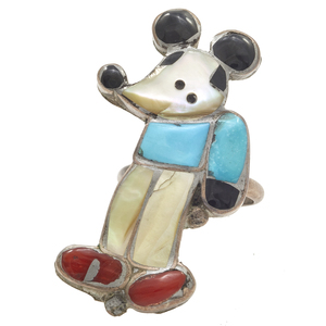 Zuni Mickey Mouse Multi-Stone Sterling Silver Ring