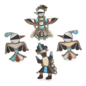 Collection of Four Zuni Inlay Rings