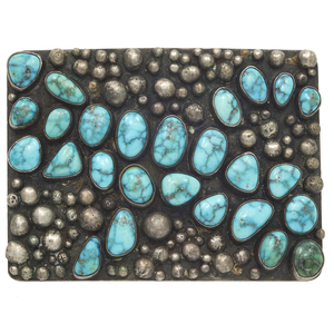 Native American Turquoise, Sterling Silver Belt Buckle