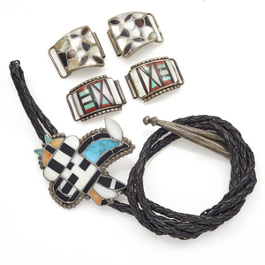Collection of Zuni Multi-Stone Inlay Jewelry Items