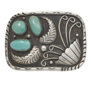 Native American Turquoise, Silver Belt Buckle