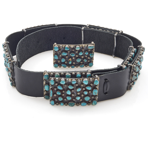 Native American Turquoise, Sterling, Leather Belt