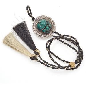 Native American Malachite, Horse Hair, Silver Bolo