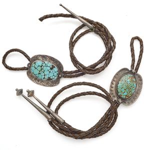 Two Native American Turquoise, Silver Bolos