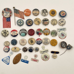 75 Antique Vintage Buttons Pinbacks Various Subjects