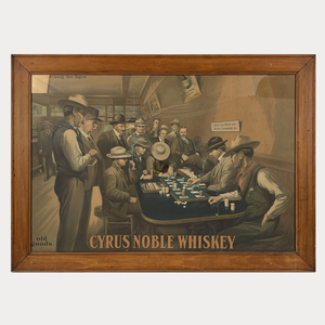 Antique Cyrus Noble Whiskey San Francisco Poker Sign