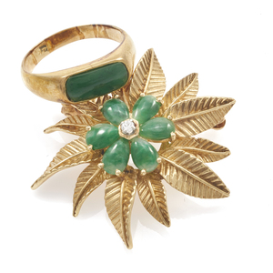 Collection of Jade, 14k Yellow Gold Jewelry Items