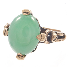 Jadeite, 14k Rose Gold Ring