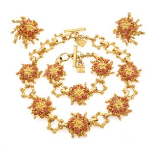 Gavilane Paris Coral, Yellow Metal Jewelry Suite