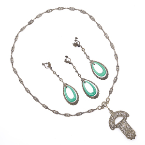 Collection of Art Deco, Chalcedony, Marcasite Jewelry