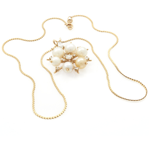 Diamond, Cultured Pearl, 14k Yellow Gold Necklace
