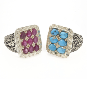 Two Gent's Turquoise, Treated Ruby, Persian Silver Rings