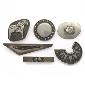 Collection of Swedish Silver and Pewter Modernist Pins