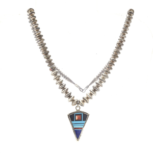 Frank Yellowhorse Multi-Stone, Sterling Silver Necklace