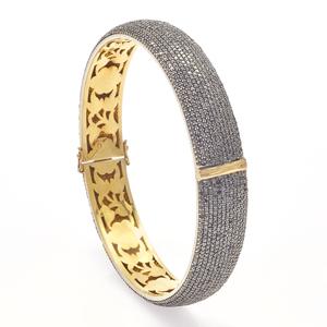 Black Diamond, 14k, Sterling Bangle Bracelet
