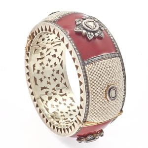 Diamond, Pearl, Enamel, 14k, Silver Bangle Bracelet