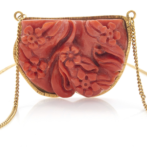 Coral, 18k Yellow Gold Necklace