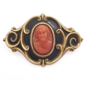 Victorian Coral Cameo, Enamel, 10k Pin Pendant