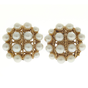 Pair of Cultured Pearl, 14k Ear Clips
